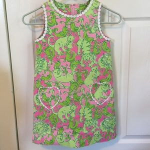 Lily Pulitzer girls green & pink lined dress. 6X